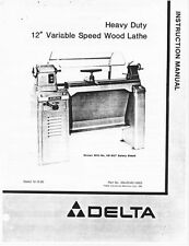 "Delta Rockwell Model 46-412 12"" Variable Speed Wood Lathe Instructions"