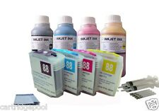 4 HP88 refillable cartridge OfficeJet Pro L7681 L7700 L7750 L7780 +4x10OZ/S ink