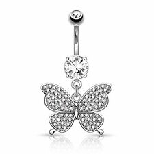 14G Jeweled Butterfly Belly Button Rings Dangle Belly Navel Ring Body Jewelry
