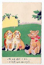 Animal CHIEN Chiens DOG dogs 77 carte illustrateur ours en peluche et chiens
