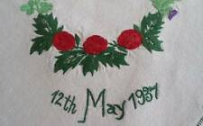 Vtg Linen Tablecloth Coronation George VI Ireland England Thistle Shamrock 34""