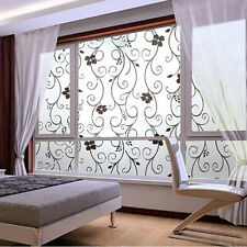 New Sweet 45x100cm Frosted Glass Window Black Floral Flower Sticker Film Decor
