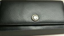 Auth Bvlgari Trifold Long Wallet Black calf leather new $699 value