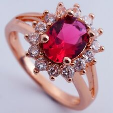 ELEGANT JEWELRY  FOR SHOW ROSE GOLD PLATED RED Cubic Zircon Rings Size 8