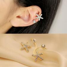 1pc Gold  Women Crystal Rhinestone Starfish Ear Clip Cuff Earring Stud Jewelry