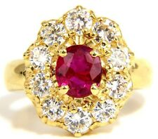 $12000 GIA 2.30CT NATURAL RED NO HEAT RUBY DIAMONDS RING 18KT UNHEATED CLUSTER