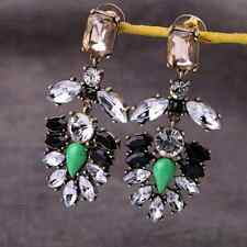 Fashion Retro Resin Rhinestone Leaf Flowers Statement Dangle Stud Earrings P58