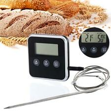 Digital LCD Food Temperature Probe Oven Thermometer Kitchen Timer Cooking BBQ DH