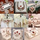 Embroidered Peony Cutwork Table Runner Cloth Doily Mat Chair Seat Cushion Pad