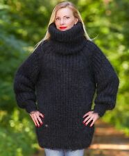 SUPERTANYA Black Hand Knitted Mohair Sweater Extra Long Thick Turtleneck ON SALE