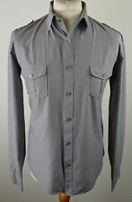 Retro men's Fila mid grey pinstripe military long sleeved shirt large 44""