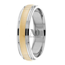 Solid 14K Gold Double Line Edges Wedding Band Two Tone 6mm Wedding Ring