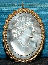 14K Yellow Gold Mother of Pearl Cameo Brooch Pin Pendant