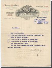 Lettre - ROCHER Fréres à La côte st-André 1926 - lettre signée par Mme Rocher