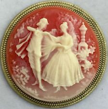 """VINTAGE CORNELIAN & IVORY COLOR PICTURE CAMEO BUTTON~Stamped Brass~2"""" INCH"""