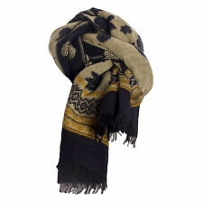 Ladies Large Wool Navy & Mustard & Beige Rose & Aztec Soft Pashmina Shawl Scarf