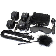 10PCS Black Heavy Leather Faux Fur Lined Bondage Set Kit Cuffs Whip rope Collar