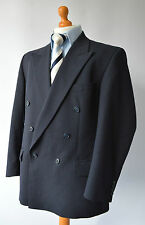Men's Navy Blue Striped Magee Wool Blend Double Breasted Jacket Size 44.