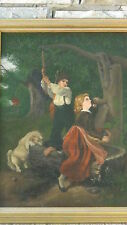 "ANTIQUE 19c CONTINENTAL SCHOOL OIL ON CANVAS PAINTINGS""SIBLINGS"",SIGNED ""J.A."""