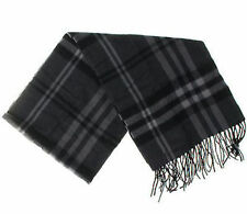 "Enzo Mantovani New Striped Black Gray Plaid Cashmere Blend Scarf 12"" Wide"