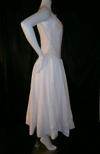 FANCY NY NEW YORK  WHITE PINK TEA LENGTH SIZE 6  WEDDING GOWN DRESS EYELET LACE