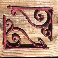 set of 2 antique style Cast Iron Decorative Scroll RED Shelf Brackets #08S/03