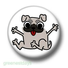 Pug Dog 1 Inch / 25mm Pin Button Badge Pugs Dogs Puppies Animals Pets Cute Fun