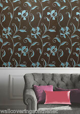 **STUNNING**   Duckegg Blue & Brown, Modern Floral Design, Suede Feel Wallpaper