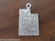Vintage sterling silver UTAH STATE MAP SALT LAKE CITY charm FORT CO.