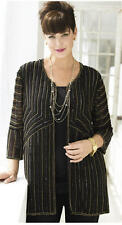 1X 16/18 NWT ULLA POPKEN NIGHT LINES BEADED JACKET GOLD BLACK GLITZY $129