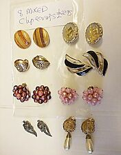VINTAGE COLLECTION [A] OF QUALITY 8 MIXED CLIP EARINGS MARCOSITE LUCITE  ETC