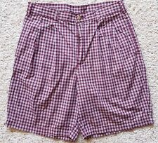BROOKS Brothers SHORTS Checked 31 Red WHITE Blue TARTAN Pleat COTTON Mens SIZE**