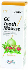 2x GC Tooth Mousse je 40g (35ml.) Recaldent -Tutti-Frutti- Geschmack