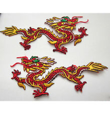 Two Large Embroidered Red and Gold Dragon Iron On Patches Free Shipping