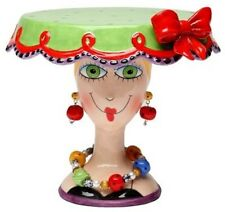 Appletree 6.5 inch Green and Red Lady Head Small Collectible Cake Stand