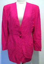 Vintage DONNA KARAN NEW YORK Hot Pink  100% Wool Jacket Size12, NWT, $1250.00 !!