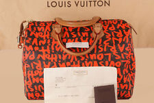 Louis Vuitton Speedy 30 Graffiti Arancione Neon Borsa Sprouse HAND-BAG fattura