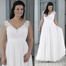 Perfect White/Ivory V neck Chiffon Wedding Dress Beach Bridal Gown Plus size++++