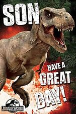 JURASSIC WORLD SON HAVE A GREAT DAY ! BIRTHDAY CARD NEW GIFT JURASSIC PARK