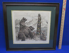 R H Palenske Framed Bear Print Be Careul Pa Bears Totem Pole Color Pencil 1910