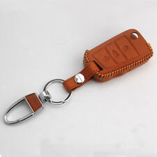 Brown Leather 3 Button Flip Remote Key Holder Cover Fob Case For Golf 7 MK7 GTI