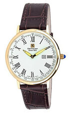 Steinhausen Men's Swiss Quartz Rose Gold Tone S. Steel Brown Leather Watch S0118