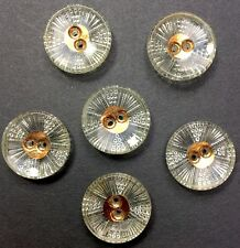 6 Stunning Glittery Vintage 1930s French Glass 1.8cm  Buttons