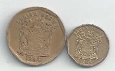 2 DIFFERENT COINS from SOUTH AFRICA - 10 & 50 CENTS (BOTH DATING 1996)