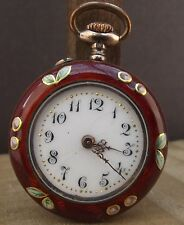 LOVELY SMALL ANTIQUE LADIES RED ENAMEL FLOWER REVERSE POCKET FOB WATCH