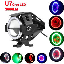 125W U7 Cree LED Angel Eye Motorcycle Headlight Spotlight Drving Fog Lamp 3 mode