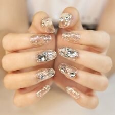 24PCS Shining Bride Manicure Patch For Wedding Dress Transparent False Nails