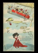 Artist XAVIER SAGER #12 Aircraft zeppelin men chasing Lady on earth 1911 PPC