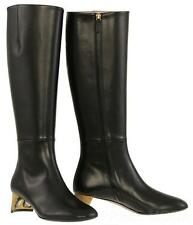 NEW GUCCI BLACK LEATHER SWAROVSKI CRYSTAL HEELS KNEE BOOTS SHOES 37/US 7