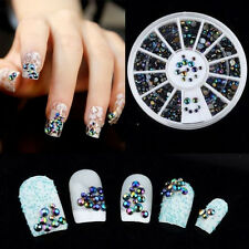Bulk 300PCS 3D Nail Art Tips Crystal Glitter Rhinestone Pearl Decoration + Wheel